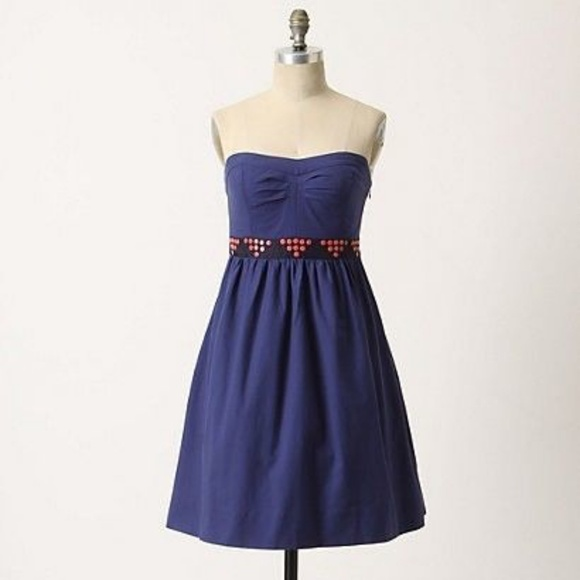 195e64d523082 Anthropologie Dresses | 35 Floreat Strapless Blue Dress | Poshmark